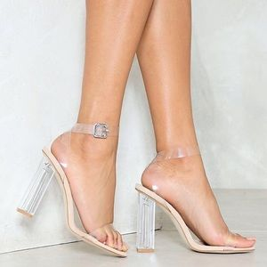 Strappy Clear Sandal Heels
